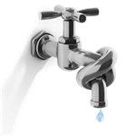 faucet tied in a knot - graphic