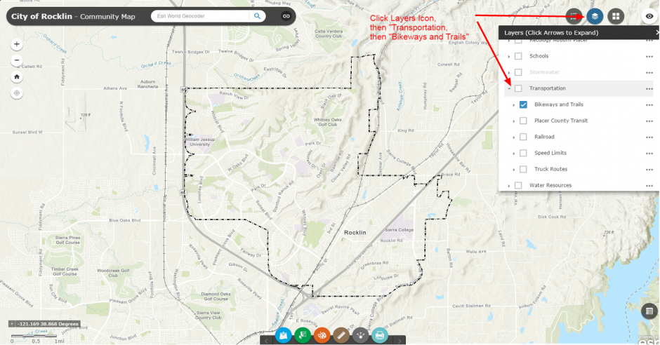 Instructions for GIS map use, to show bike trails
