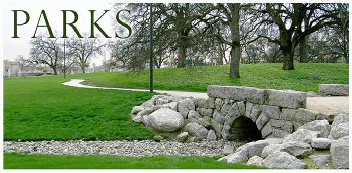 photo of a rocklin park with stone bridge