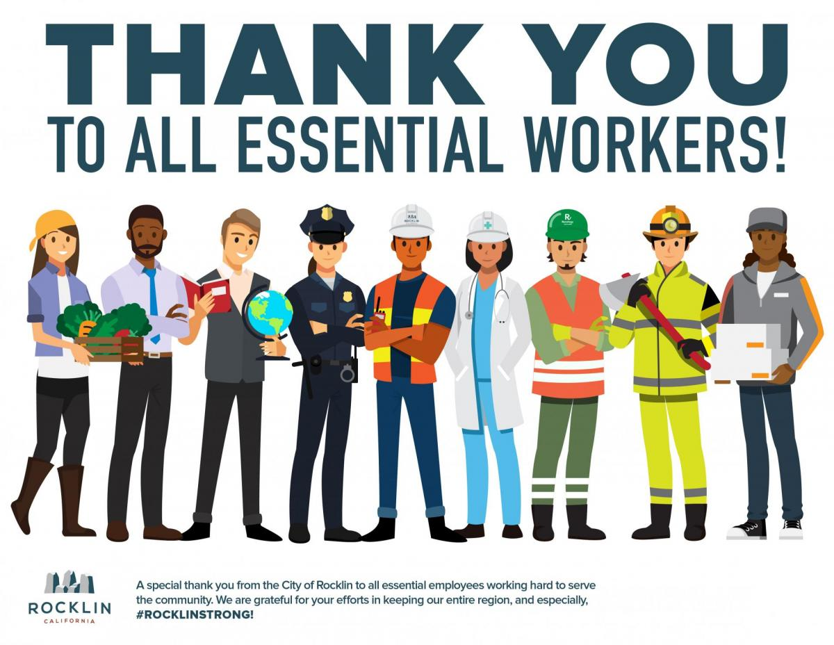 Thank You To All Essential Workers City Of Rocklin