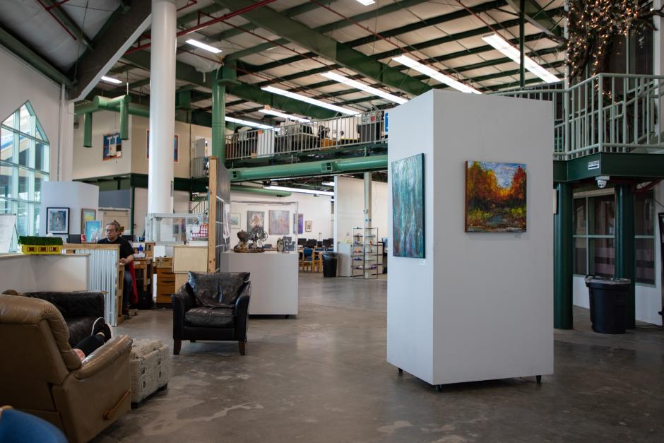 Artists display their work on the walls of the Rocklin Hacker Lab through the Placer County Arts Council