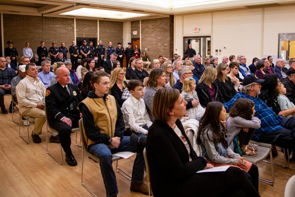 The Johnson-Springview Park Community Center was packed with friends and family to celebrate the promotions and new hires in the Rocklin Fire Department.