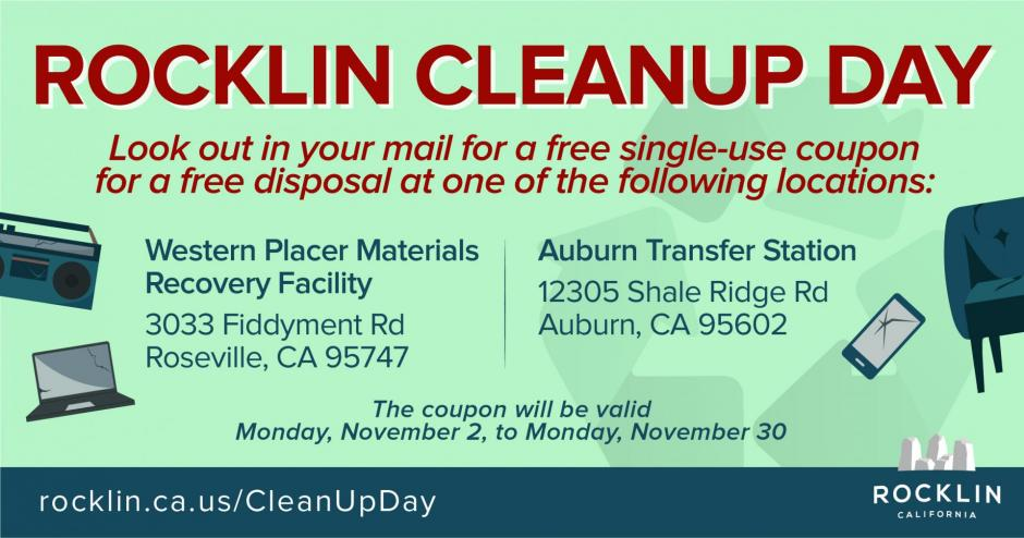 A graphic showing how Rocklin Cleanup Day is going virtual. A coupon will be sent out for a free two-yard dump to the Western Placer Materials Recovery Facility or the Auburn Transfer Station.