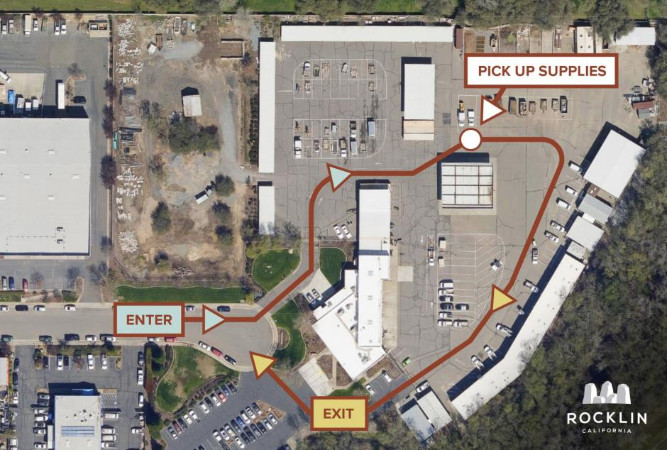 Map displaying the Rocklin Corp Yard and directions on how to drive to the PPE dropoff: Enter the northside entrance, take a right, follow the yellow cones and park by the tent to await service. Leave by taking a sharp right again and exiting the south gate.