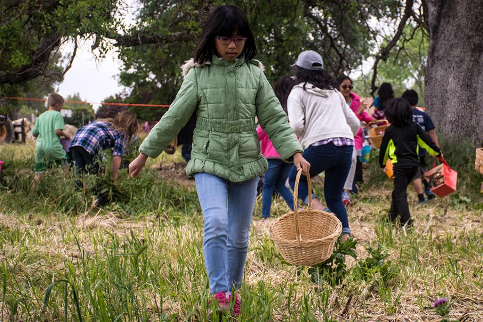 Child carrying a basket to collect easter eggs.