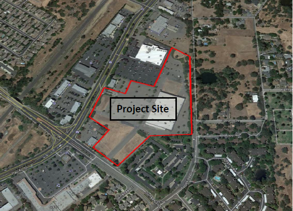 The project site on the corner of Sunset Blvd. and Pacific St.