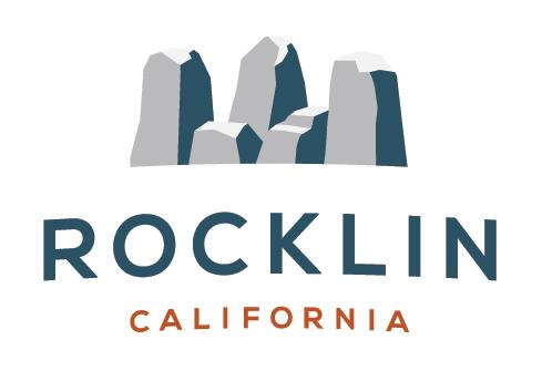 "The City of Rocklin logo: A graphic image of Rocklin rocks, with the words ""Rocklin, California"" below in stylized letters"