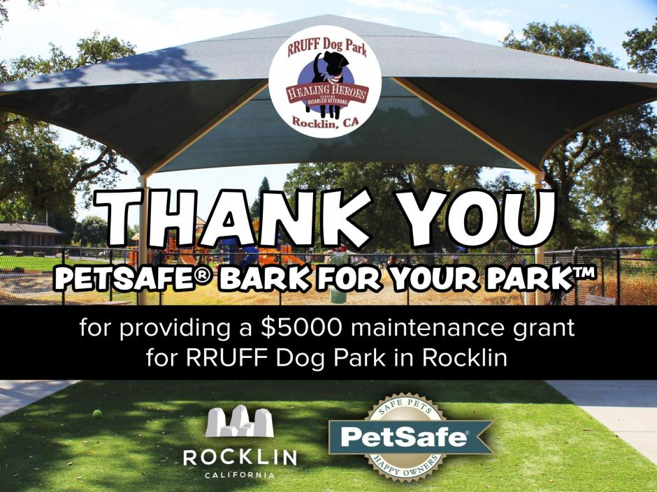 Rocklin's RRUFF Dog Park celebrates a $5000 grant from PetSafe® Bark for Your Park™