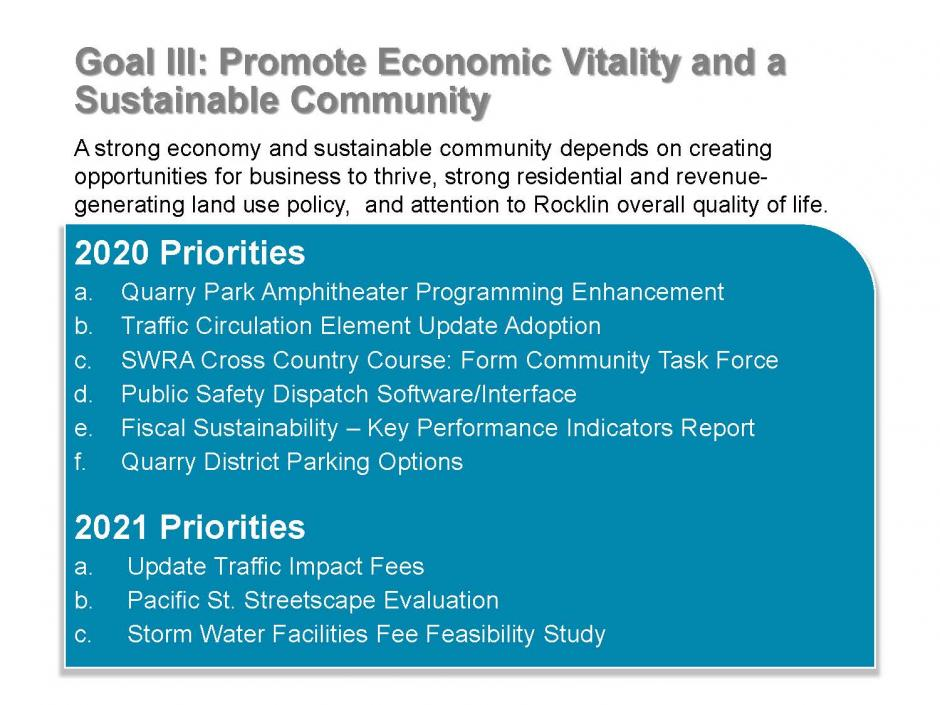Strategic Plan Goal 3 items