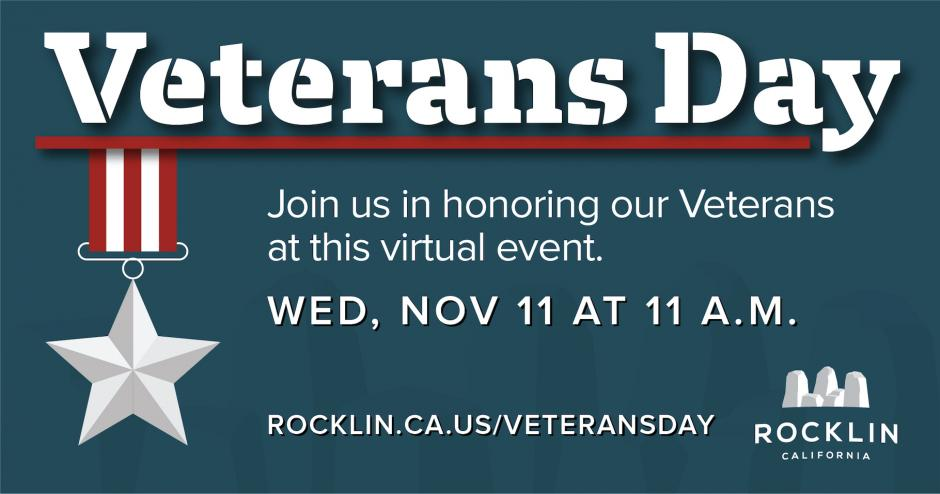"Graphic showing the words ""Veterans Day"" with the subheader, ""Join us in honoring our Veterans at this free, virtual event: Wednesday, Nov 11 at 11 a.m."""