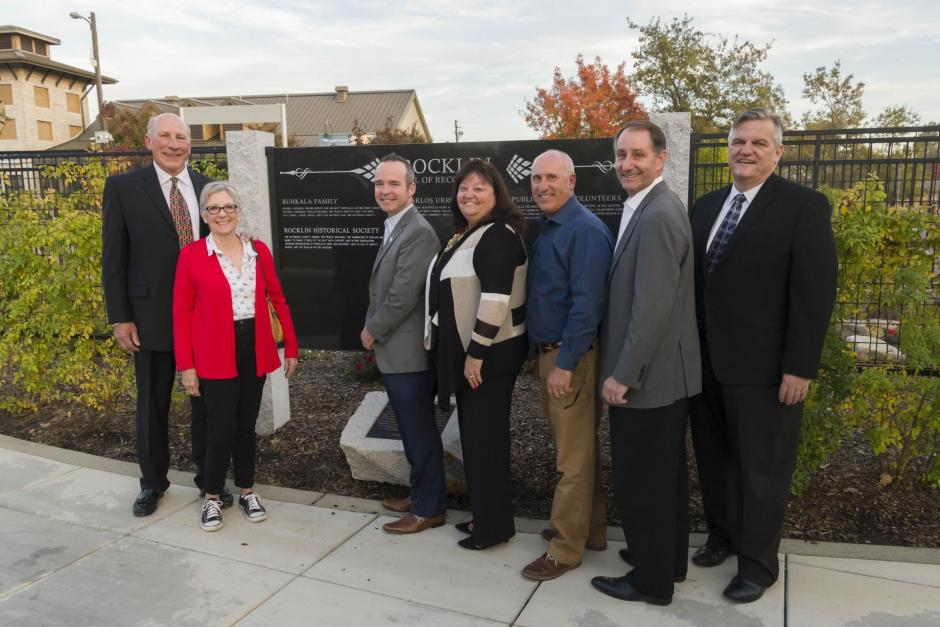 Hank Lohse, Rocklin Historical Society President, and his wife Nancy stand with Rocklin Mayor Joe Patterson, Councilmember Jill Gayaldo, Vice-Mayor Greg Janda, Councilmember Ken Broadway, and Councilmember Bill Halldin at the unveiling of the Wall of Recognition.