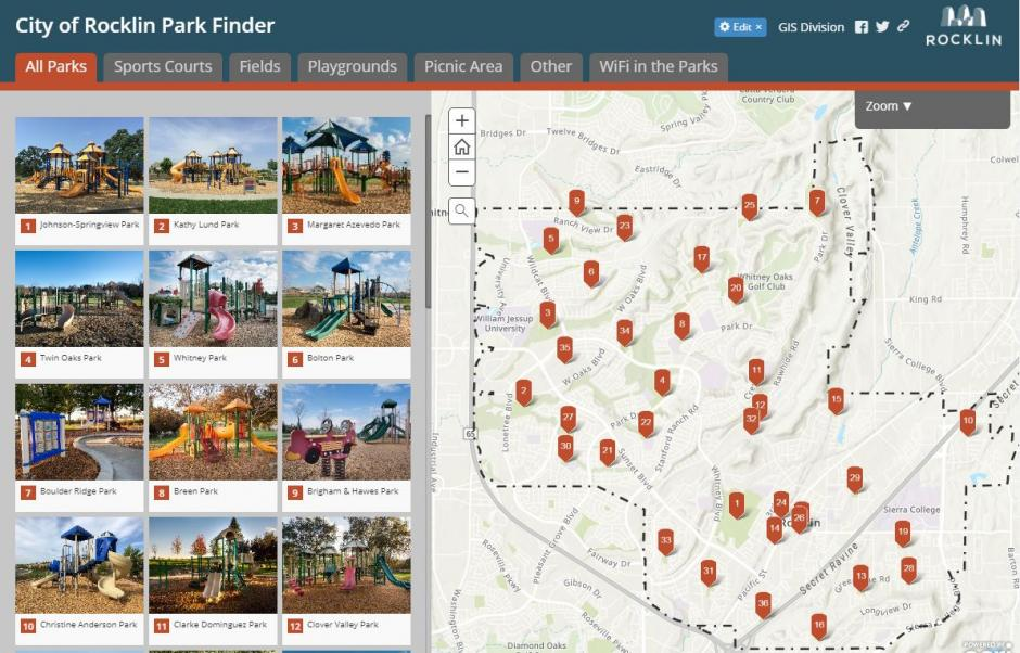 Screenshot of Park Finder Map