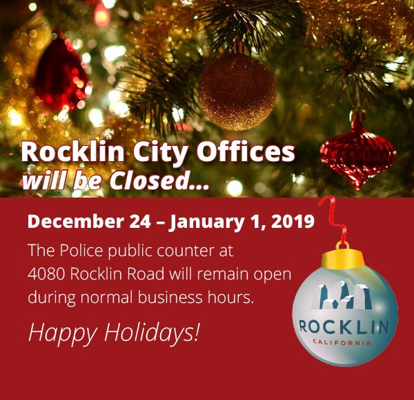 Holiday Hours for Rocklin City Offices