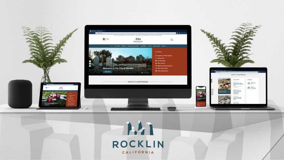 Mockup of the new Rocklin homepage, showing several computer and mobile devices with screens of the city's new home page.