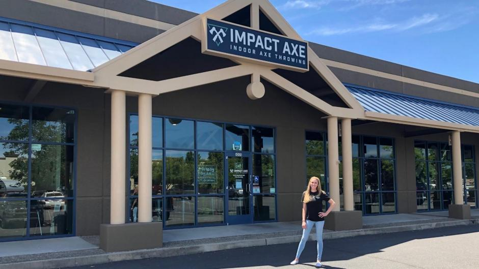 Photo of Impact Axe and Owner Kristi Torrington.