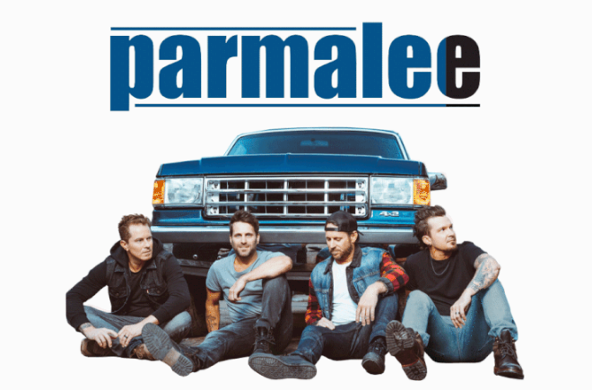 Parmalee graphic showing band sitting in front of a truck