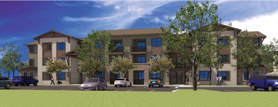 A rendering of one of the apartment buildings in the complex.