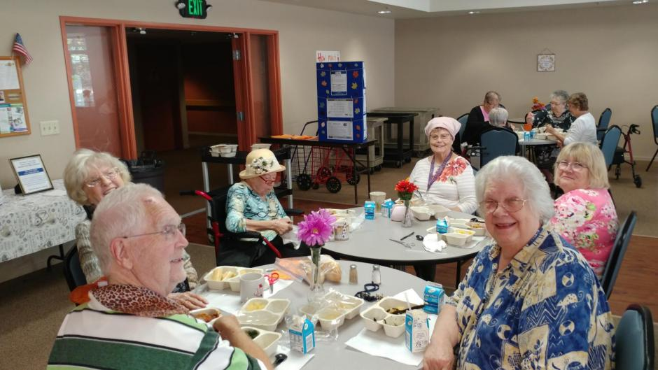 Seniors enjoy a free, nutritious meal and friendly faces at the Rocklin Café. Seniors First provides free lunches for seniors age 60 and over with the help of CDBG federal funds.