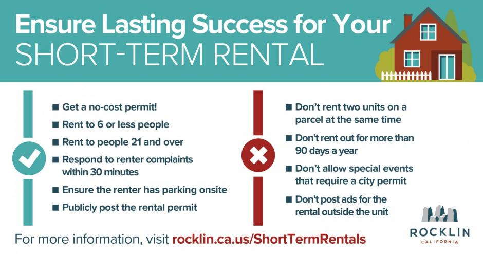 Infographic listing the do's and dont's of short-term rentals in Rocklin.